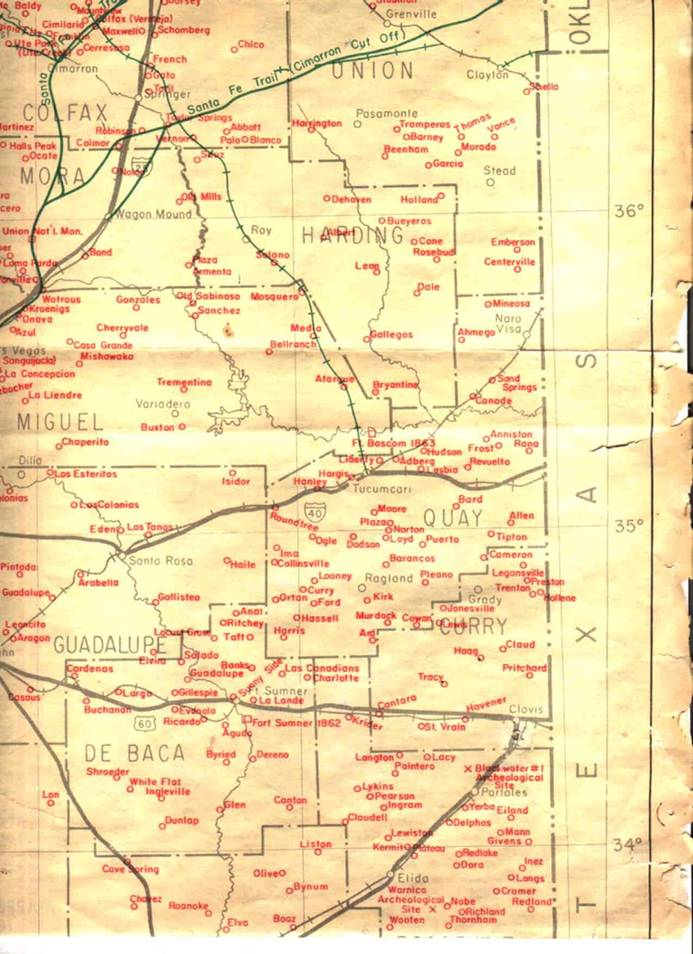 Ghost Town Map of East Central New Mexico